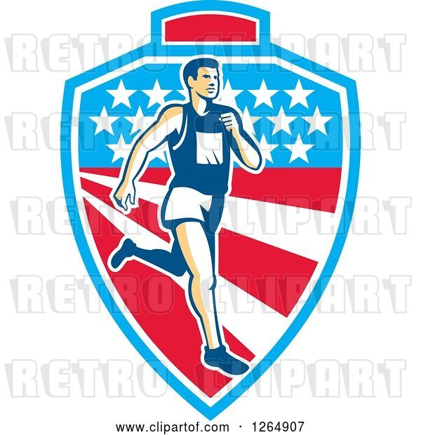 Vector Clip Art of Retro Male Marathon Runner over a Mountain American Stars and Stripes Shield