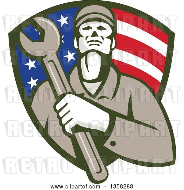 Vector Clip Art of Retro Male Mechanic Holding a Giant Wrench over His Chest in an American Flag Shield