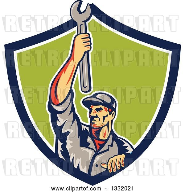 Vector Clip Art of Retro Male Mechanic Holding a Wrench Above His Head in a Blue White and Green Shield