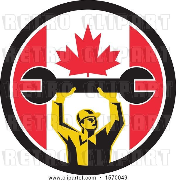 Vector Clip Art of Retro Male Mechanic Holding up a Giant Wrench in a Canadian Flag Circle