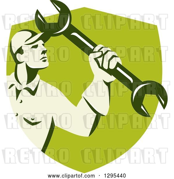 Vector Clip Art of Retro Male Mechanic Holding up a Wrench in a Green Shield