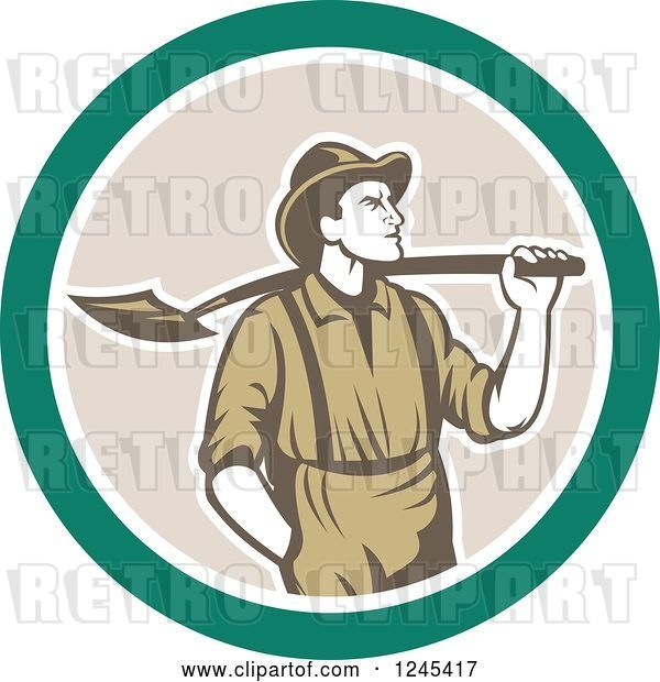 Vector Clip Art of Retro Male Miner with a Shovel over His Shoulder in a Circle