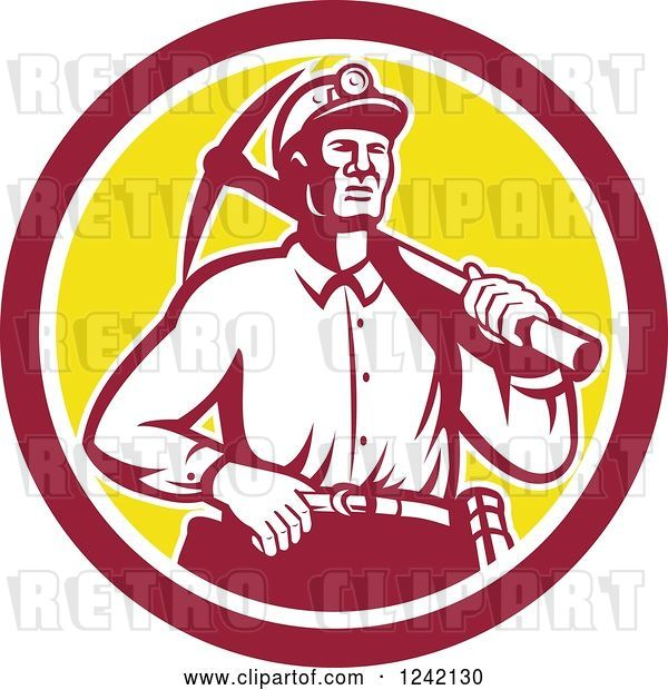 Vector Clip Art of Retro Male Miner Worker with a Pickaxe in a Circle