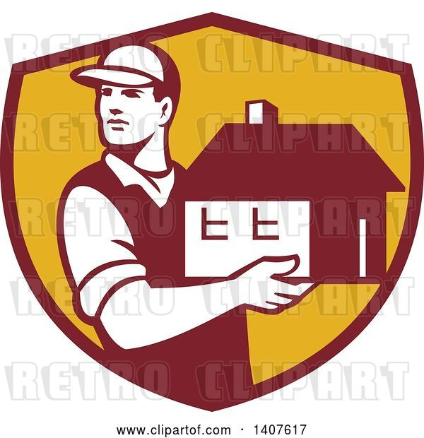 Vector Clip Art of Retro Male Mover Holding a House in a Maroon and Yellow Shield