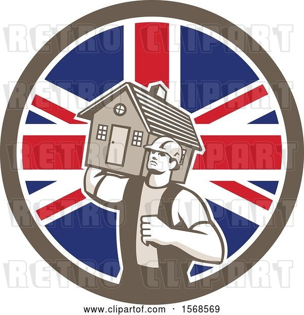 Vector Clip Art of Retro Male Mover Holding a House in a Union Jack Flag Circle