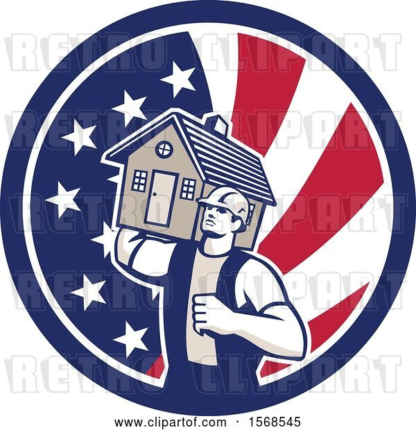 Vector Clip Art of Retro Male Mover Holding a House in an American Flag Circle