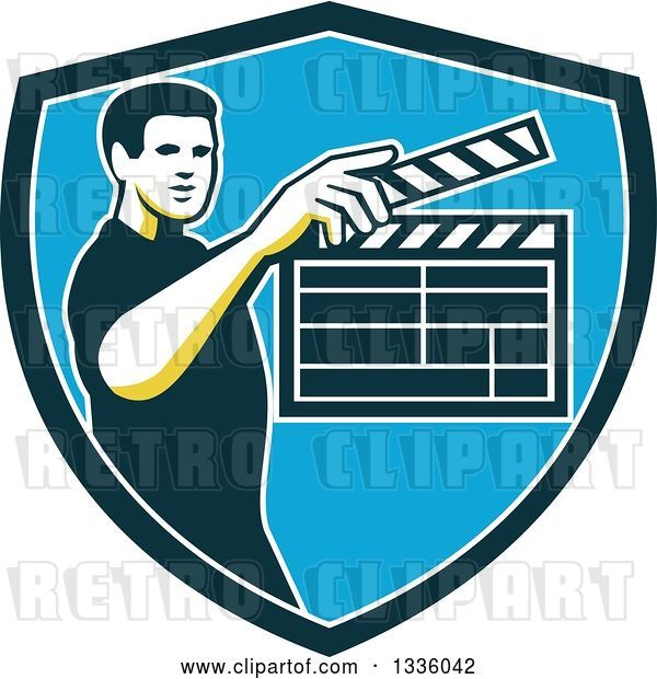 Vector Clip Art of Retro Male Movie Director Holding up a Clapperboard in a Green White and Blue Shield