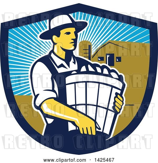 Vector Clip Art of Retro Male Organic Farmer Carrying a Bushel of Harvest Produce, in a Shield Against a Barn and Silo