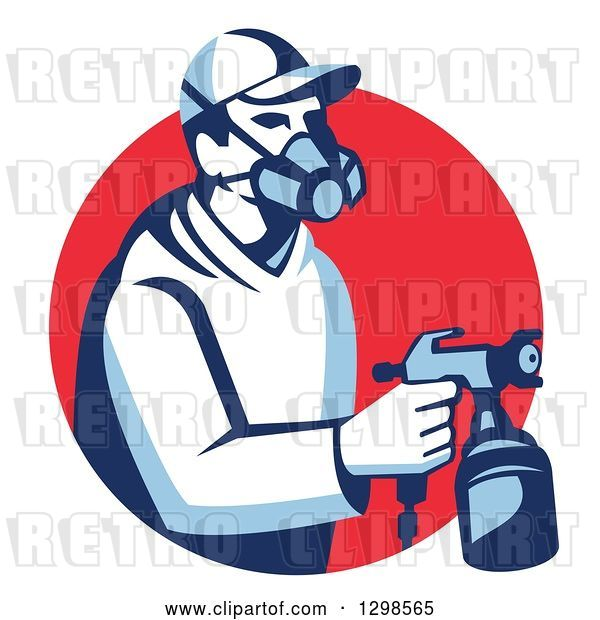 Vector Clip Art of Retro Male Painter Using a Spray Gun and Emerging from a Red Circle