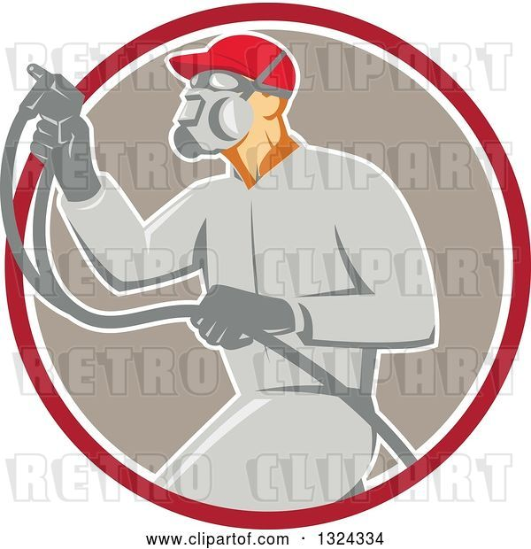 Vector Clip Art of Retro Male Painter Using a Spray Gun and Emerging from a Red White and Taupe Circle