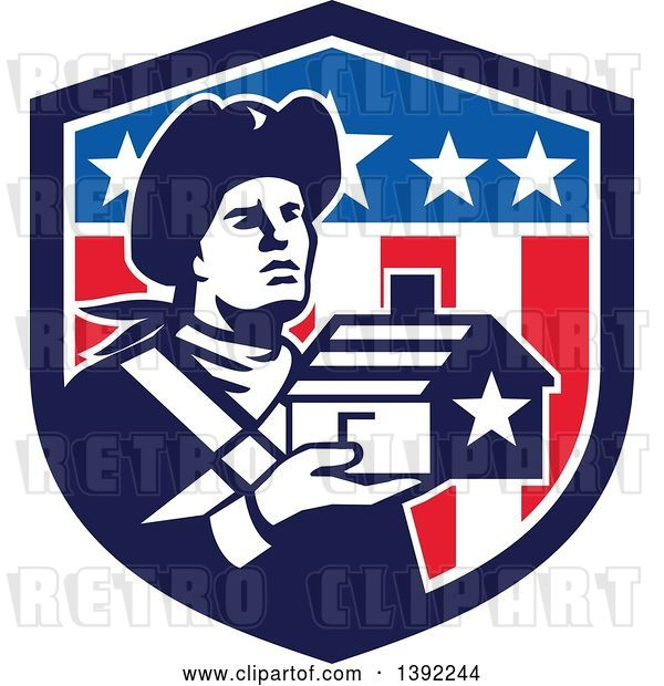 Vector Clip Art of Retro Male Patriot Soldier Holding a Home in an American Shield