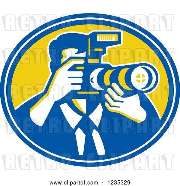 Vector Clip Art of Retro Male Photographer in a Blue and Yellow Oval