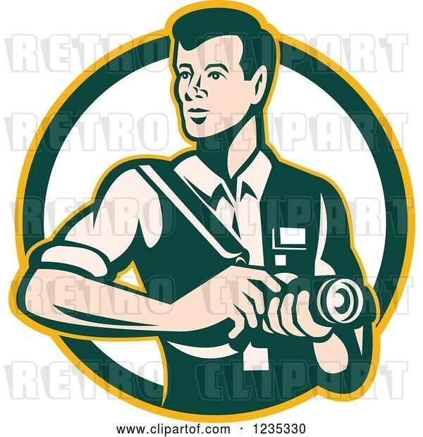 Vector Clip Art of Retro Male Photographer in a Circle
