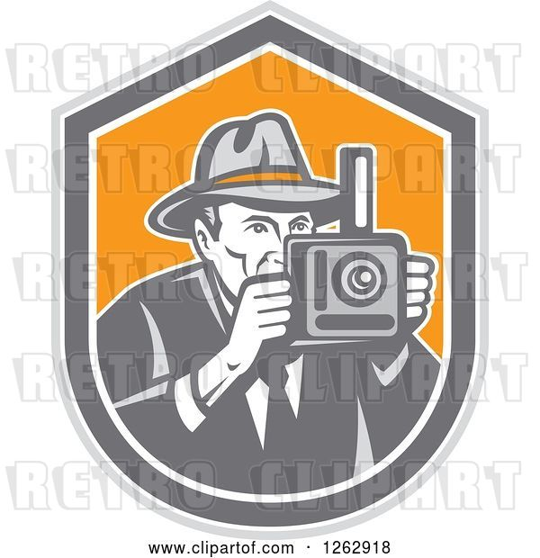Vector Clip Art of Retro Male Photographer in a Fedora Hat in a Gray White and Orange Shield