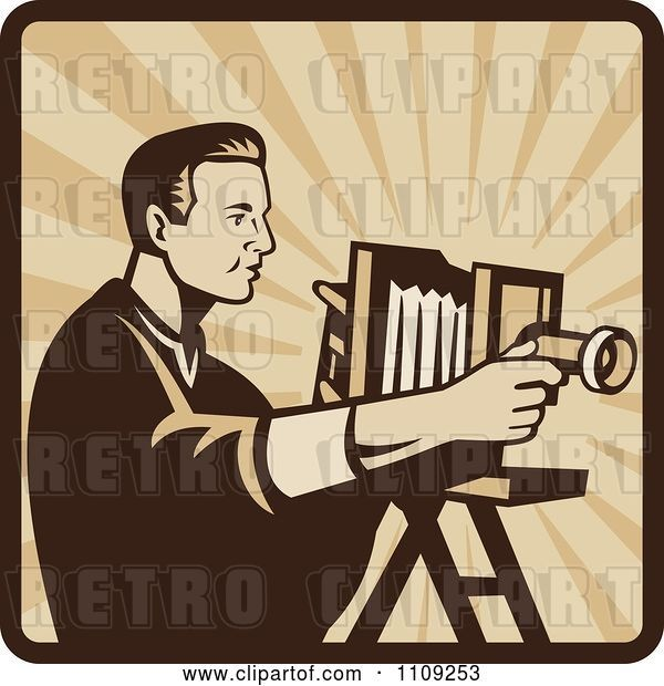 Vector Clip Art of Retro Male Photographer Shooting with an Antique Bellows Camera on a Square of Rays