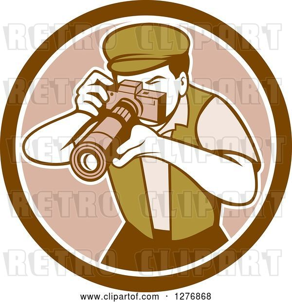 Vector Clip Art of Retro Male Photographer Taking Pictures in a Brown and White Circle