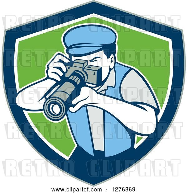 Vector Clip Art of Retro Male Photographer Taking Pictures in a Gray Blue White and Green Shield