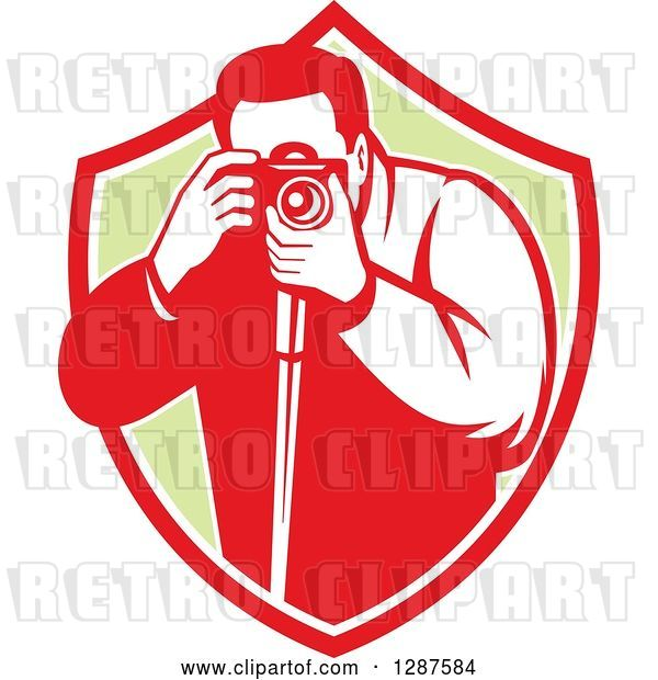 Vector Clip Art of Retro Male Photographer Taking Pictures in a Red White and Green Shield