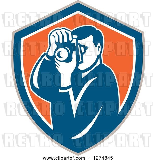 Vector Clip Art of Retro Male Photographer Taking Pictures in a Taupe Blue White and Orange Shield