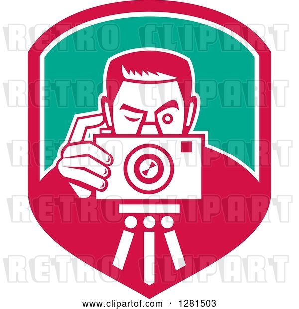Vector Clip Art of Retro Male Photographer Taking Pictures on a Tripod in a Pink White and Turquoise Shield