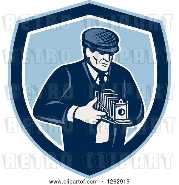 Vector Clip Art of Retro Male Photographer Using a Bellows Camera in a Blue and White Shield