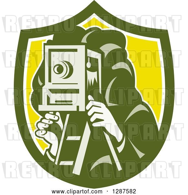 Vector Clip Art of Retro Male Photographer Using a Box Camera in a Green White and Yellow Shield