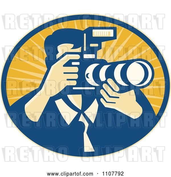 Vector Clip Art of Retro Male Photographer Using a DSLR Zoom Lense Camera in an Oval of Rays