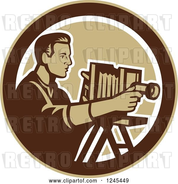 Vector Clip Art of Retro Male Photographer with a Bellows Camera in a Circle