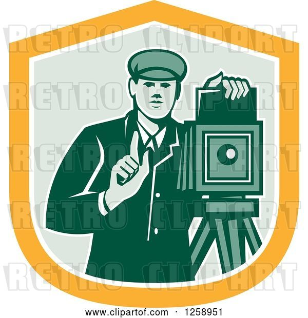 Vector Clip Art of Retro Male Photographer with a Bellows Camera in a Yellow White and Green Shield