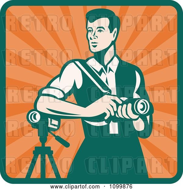 Vector Clip Art of Retro Male Photographer with a Dslr Camera and Video Camera