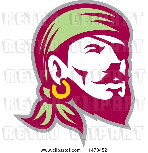 Vector Clip Art of Retro Male Pirate Wearing a Banadana and Eye Patch