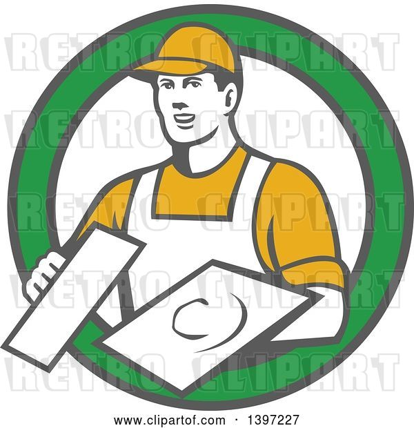 Vector Clip Art of Retro Male Plasterer Holding Trowels in a Green and White Circle