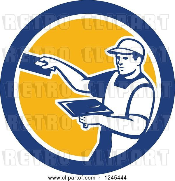 Vector Clip Art of Retro Male Plasterer Worker in a Circle