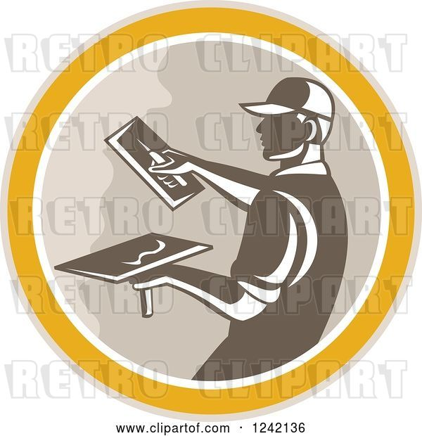 Vector Clip Art of Retro Male Plasterer Working in a Circle