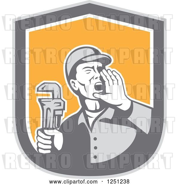Vector Clip Art of Retro Male Plumber Holding a Monkey Wrench and Calling out in a Shield