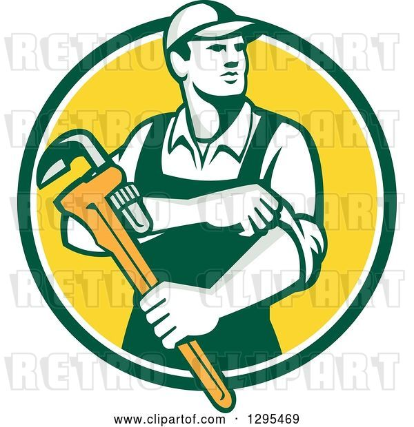 Vector Clip Art of Retro Male Plumber Holding a Monkey Wrench and Rolling up His Sleeves in a Green White and Yellow Circle