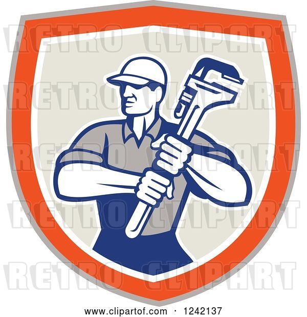 Vector Clip Art of Retro Male Plumber Holding a Monkey Wrench in a Shield