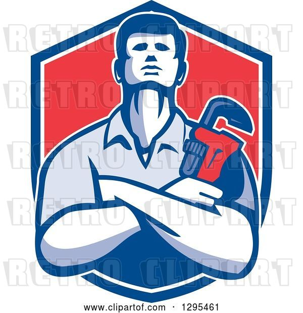 Vector Clip Art of Retro Male Plumber with Folded Arms, Holding a Monkey Wrench in a Blue White and Red Shield