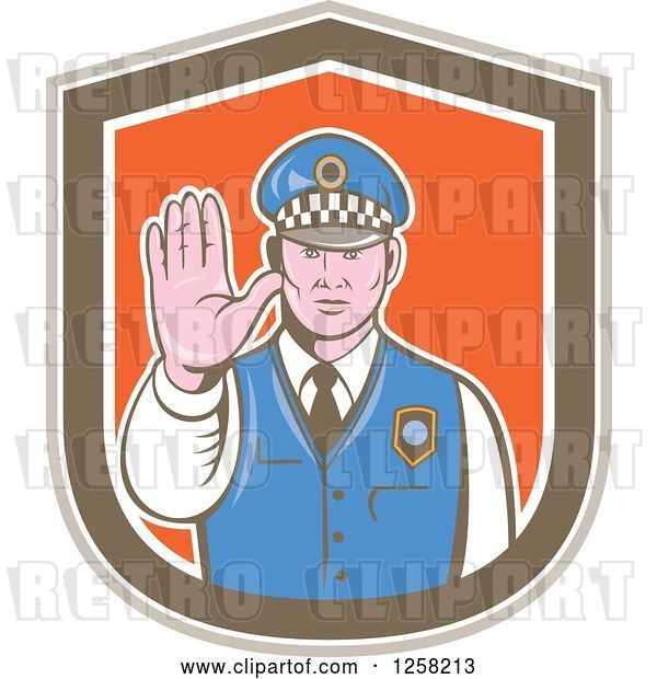 Vector Clip Art of Retro Male Police Guy Gesturing to Stop in a Brown White and Orange Shield