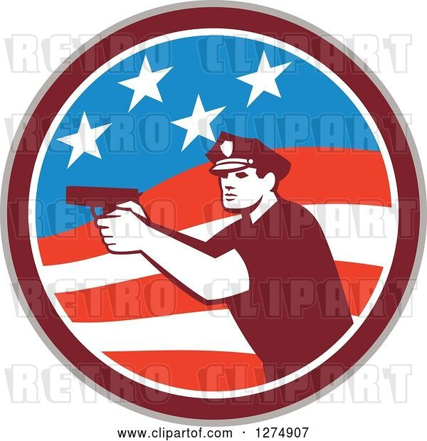 Vector Clip Art of Retro Male Police Officer Aiming a Firearm in an American Flag Circle