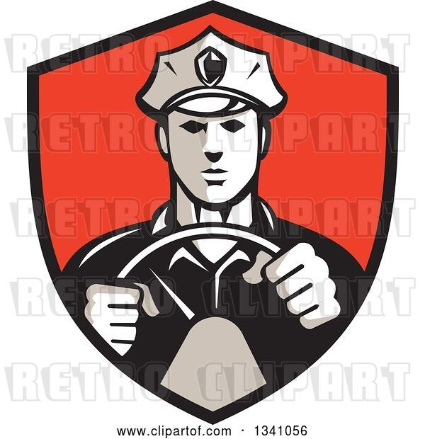 Vector Clip Art of Retro Male Police Officer Driving with Both Hands on the Steering Wheel in a Red and Black Shield