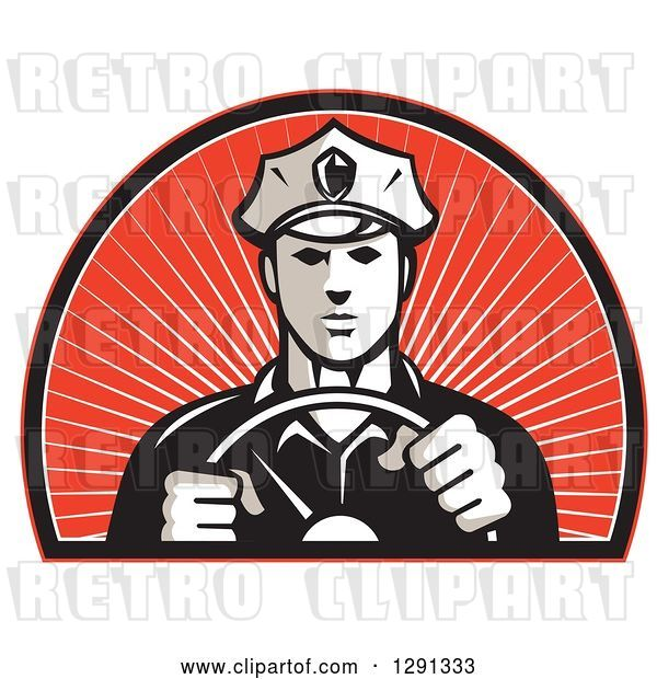 Vector Clip Art of Retro Male Police Officer Driving with Both Hands on the Steering Wheel in an Arch of Red Sunshine