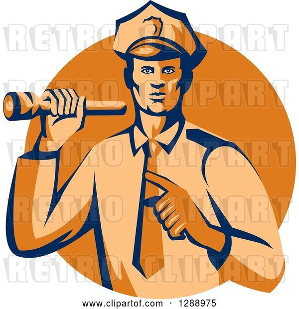 Vector Clip Art of Retro Male Police Officer Shining a Flashlight and Pointing over an Orange Circle