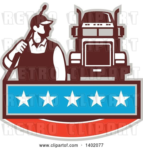 Vector Clip Art of Retro Male Pressure Washer Worker Standing with a Wand over His Shoulder by a Big Rig Truck over a Banner with Stars