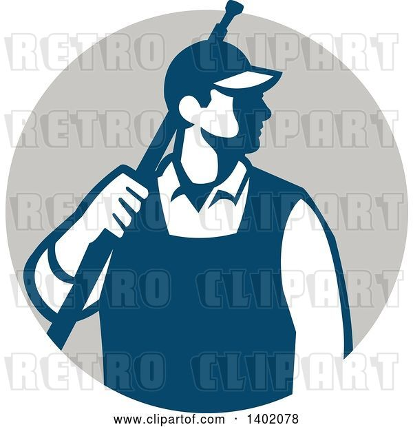Vector Clip Art of Retro Male Pressure Washer Worker Standing with a Wand over His Shoulder in a Gray Circle