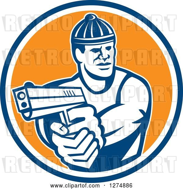 Vector Clip Art of Retro Male Robber Pointing a Gun in a Blue White and Orange Circle