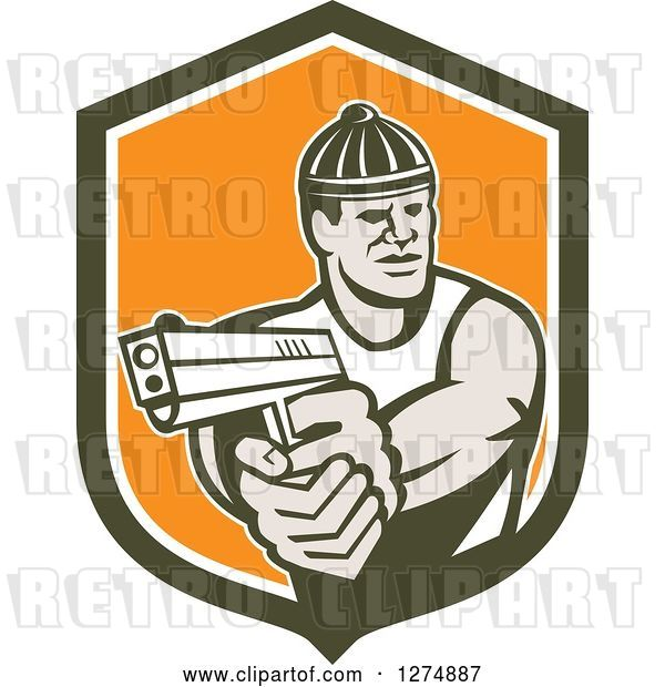Vector Clip Art of Retro Male Robber Pointing a Gun in a Brown White and Orange Shield