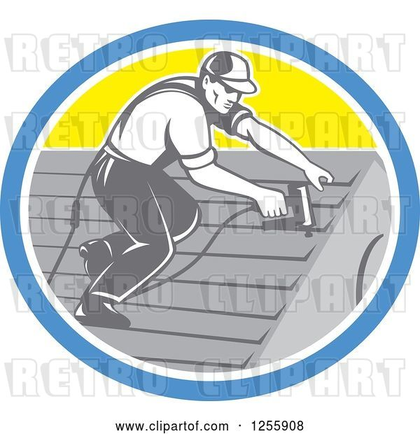 Vector Clip Art of Retro Male Roofer Working in a Yellow Blue and White Oval
