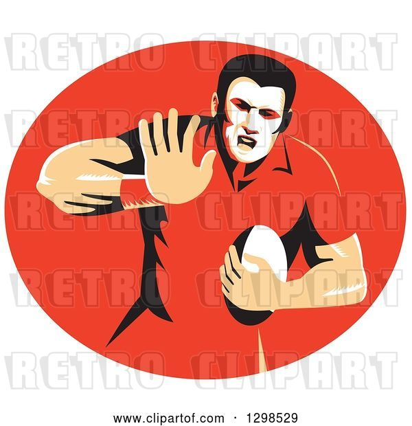 Vector Clip Art of Retro Male Rugby Player Fending in a Red Oval