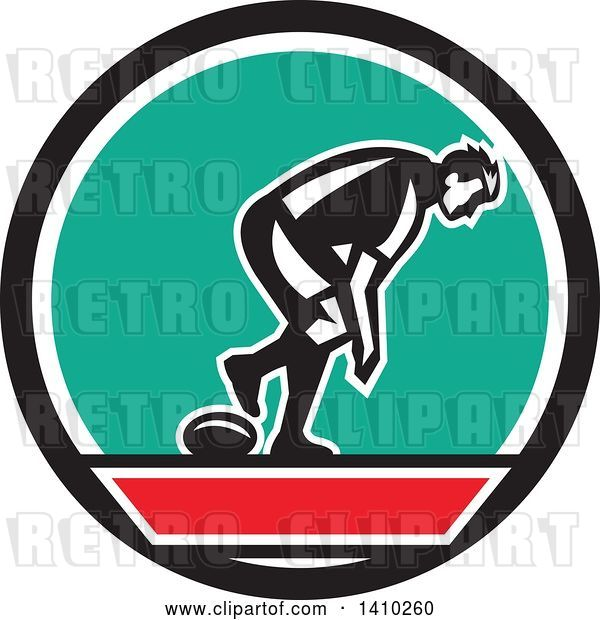 Vector Clip Art of Retro Male Rugby Player in a Black Red White and Turquoise Circle